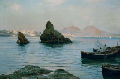 Alceste Campriani, (Terni 1848-Lucca 1933), Veduta del golfo di Napoli con Vesuvio e barche, 1890 c.