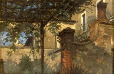 Ugo Castellani, (Terni 1890- Terni 1957), Villa con pergolato, 1929