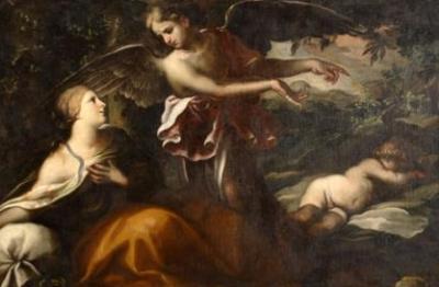 Gian Domenico Cerrini (attr.), (Perugia 1609-Roma 1681), Agar e l'angelo