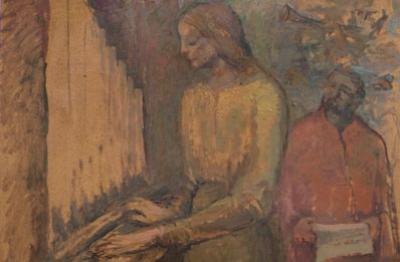 Ilario Ciaurro, (Napoli 1889-Terni 1992), Donna all'organo, 1974