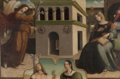Francesco Fantoni da Norcia (attr.), Annunciazione e i santi Sebastiano e Caterina d'Alessandria