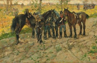 Giovanni Fattori (Livorno 1825-Firenze 1908) Sosta di cavalleggeri, 1870-1872