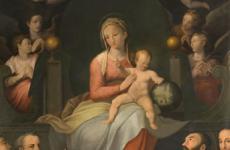 Alfonso Morganti, (Perugia 1849-1907), Madonna col Bambino e santi, 1881
