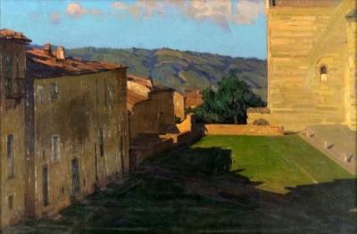"""Umberto Prencipe, (Napoli 1879-Roma 1962), Orvieto """"L'ora del Vespro"""", 1921"""